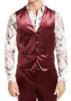 INC Mens Suit Vest Burgundy Red Size XL Velvet Five-Button Slim Fit $69 018