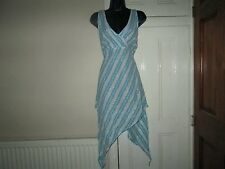 Ladies Asymmetrical Indian Boho Dress Summer Beach Festival Blue White Silver