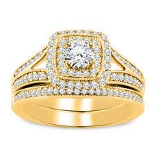 2.00ct Round Cut Diamond 14k Yellow Gold Over Engagement Wedding Bridal Ring set