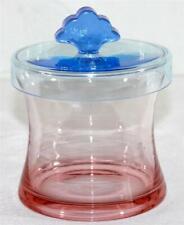 """4 1/2"""" Art Glass Vase w/ Lid Blue Lid Fleur De Lis Knob Pink Ombre Base Unsigned"""