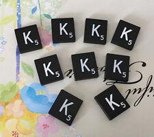 10 (TEN) Letter K, Black  Scrabble Tiles Letters, Individual, A to Z in Stock!