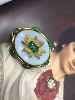 Antique Georgian Victorian Pinchbeck Chalcedony Green Paste Brooch Wow