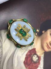 Green Paste Brooch Wow Antique Georgian Victorian Pinchbeck Chalcedony