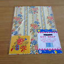 Wrapping Paper & Gift Tag x 3 Sheets & Tags Flowered Gifts Present Birthday