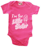 """Dirty Fingers """"I'm the Little Sister"""" Baby Girl Bodysuit Babygrow New Sister"""