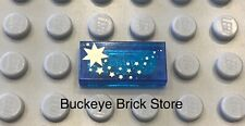 LEGO Harry Potter Original Trans Dark Blue Tile With Gold Shooting Stars Pattern