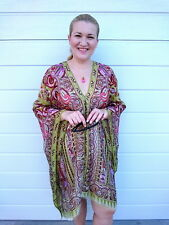 Plus Size Silk Kaftan Top Beach Coverup Paisley Stylish Resort Cruise wear Green