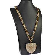 Real Natural Cuerno De Búfalo grandes Corazón Colgante Collar largo de enlace de gran tamaño