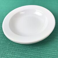 "Vtg White Enamelware lot of 2 8 1/2"" Plate or bowl kitchenware"