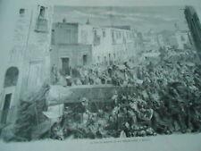 Gravure 1862 - La Rue de Roldan et son debarcadère à Mexico