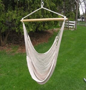 Deluxe White Rope Hanging Hammock Sky Swing Chair - Adult Size