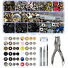 150Pcs Metal Snap On Buttons Set Press Studs Fixing Tool Punch Plier Leather DIY