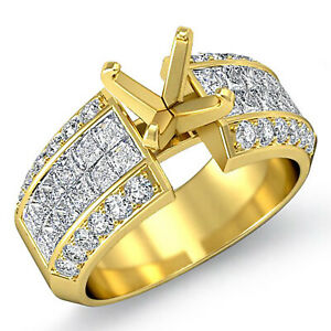 1.85 Ct Round Princess Diamond Setting Engagement Ring 14k Gold Yellow VS1 F