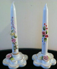Pair of China Candles in Holders Lefton