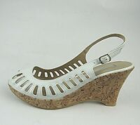 Chinese Laundry Women's Sandals Shoes Size 8M White Wedge Heels Peep Toe