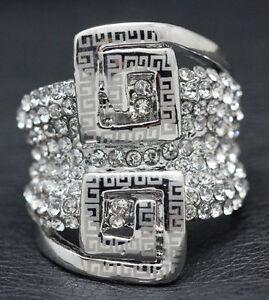 18k White Gold GP Big Ring made w Swarovski Crystal Pave Gorgeous Bold Ring