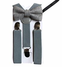 Matching Braces and Vintage Grey Wool Bow Tie Set Kids Children Boys