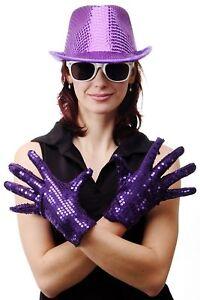 Handschuhe Fasching Karneval Revue Cabaret Pailletten Lila 80er VQ-021-PURPLE