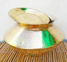 New listing 15 Litre Hammered Brass Cooking Biryani Handi With Lid - Tin Polished Inside