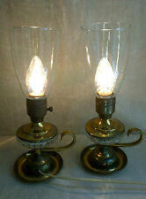 Vintage Leviton Brass Crystal Glass Table Lamp Electric Pair