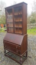 Vintage  Writing Desk Bureau with Display Cabinet / Book Shelf