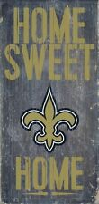 """New Orleans Saints Home Sweet Home Wood Sign 12"""" x 6""""  NFL Man Cave Wood"""
