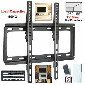 TV WALL BRACKET MOUNT SLIM FOR 26 30 32 40 42 50 55 INCH FLAT 3D LCD LED PLASMA