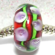 'RED HOLLYHOCKS'  Red/Pink Flower Bubbles MuranoGlass European Bracelet Charm