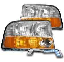 FOR 98-04 GMC SONOMA S15/01 JIMMY PICKUP HEADLIGHT LAMP CHROME +BLUE DRL LED KIT