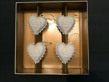 Margaret Furlong 1998 Blooming Four Love Shell Heart Ornaments Set Of 4