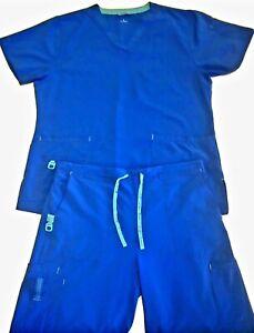 CARHARTT FORCE Utility Cargo Scrubs 2pc (Top & Pants)   Blue   (Women's L)