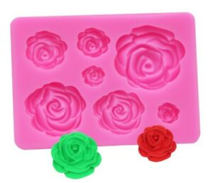 7 ROSE FLOWERS SILICONE MOULD/MOLD ICING-MINI/SMALL CAKE DECORATING/FIMO/RESIN
