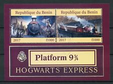 Benin 2017 CTO Hogwarts Express Platform 9 3/4 2v M/S Trains Harry Potter Stamps