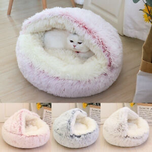 Dog Cave Bed Round Plush Cuddler Warm Cushion Igloo House Crate Cat Calming Bed