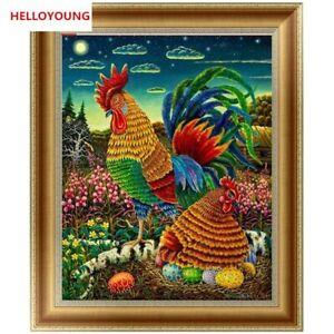 5D Diamond Painting Cock and Hen Cross Stitch Kit Diamond Mosaic Home Decoration