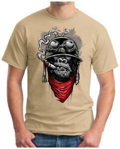 Herren T-Shirt Gorilla of Duty Monkey Biker Ape MC Motor Army Navy War S-4XL