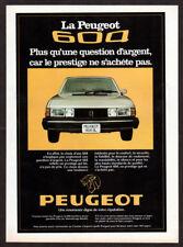 1978 PEUGEOT 604 SL Vintage Original Print AD - White car photo Canada French