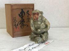 Y1911 Okimono Seto-Ware Singe Figurine Signé Boîte Japon Ancien Décor