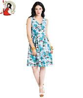 HELL BUNNY NISSI mid DRESS vintage style HAWAIIAN XS-4XL