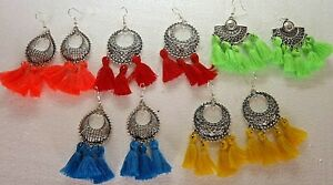 Indian Style Tassel Earrings , Assorted Colours, For Pierced Ears