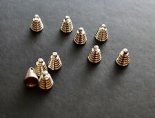 10 silver plated bead cap cone end bails 6mm x 8mm for jewellery making