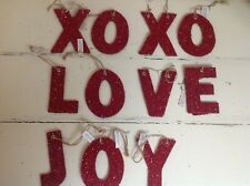 NWT POTTERY BARN Red German Glitter Letters LOVE JOY XOX  Holiday Ornaments