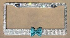 Crystal Rhinestone License plate frame Bling Aquamarine Bow, Girl Car Accessory
