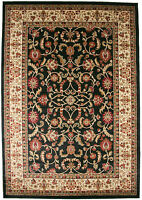 5X8 Area Rug New Border Floral Beige Ebony Black Red Traditional
