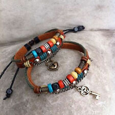 two couple leather bracelet WOOD BEAD for him and for her  free shipping