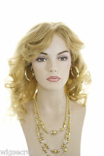 Light Golden Blonde Blonde Long Human Hair  Monofilament Hand Tied Wavy Str Wigs