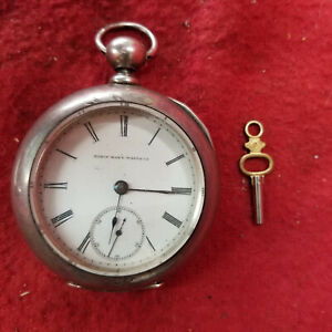 Elgin National Heavy Coin Silver Key Wind Pocket Watch With Key--Working