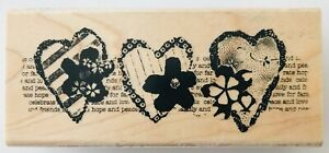 """Stampendous Rubber Stamp Heart Trio Montage N141 2005 3.75 x 1.5"""" Collage"""