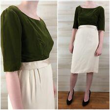 Vintage 50s Green Velvet Cream Sheath Dress Tailored Scoop Neck M L