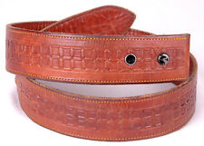 Vtg Leather Belt-Hand Tooled-Western-Brown-Stam ped-Distressed-Handmade-St itched